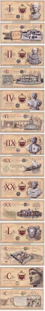 Roman Empire Commemorative set of 7 notes: 1, 2, 4, 8, 20, 50, 100 Sesterces 2007 UNC