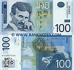 Serbia 100 Dinara 2006 (AA00079xx) Early serial Nos UNC