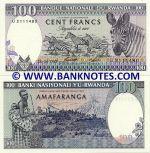 Rwanda 100 Francs 24.4.1989 (Z 176452xx) UNC