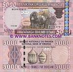Rwanda 5000 Francs 2009 UNC