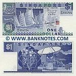 Singapore 1 Dollar (1987) (B/59 5547xx) UNC