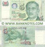 Singapore 5 Dollars 1999 (0AH269412) (circulated) VF-XF