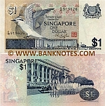 Singapore 1 Dollar (1976) (solid sec. thread) (F/38 7131xx) UNC