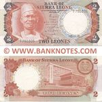 Sierra Leone 2 Leones 19.4.1974 (#B/4 750305) (circulated) VF+
