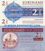 Suriname 2 1/2 Dollars 2004 UNC