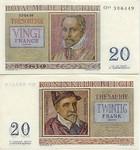 Belgium 20 Francs 1956 (M11/742983) (circulated) VF