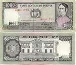 Bolivia 1000 Pesos Bolivianos 1982 (K082105xx) UNC