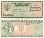Bolivia Half Million Pesos Bolivianos 1984 (A/247xxxxx) (circulated) XF