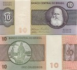 Brazil 10 Cruzeiros (1980) (Series B) (lightly circulated) XF+