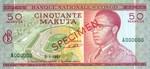 Congo DR (Kinshasa) 50 Makuta 1967 SPECIMEN (A000000) AU-UNC