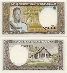Laos 20 Kip (1963) (S1/0214380xx) UNC