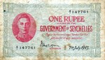 Seychelles 1 Rupee 7.7.1943 (B/1 147761) (circulated) F