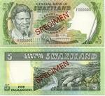Swaziland 5 Emalangeni (1984) SPECIMEN UNC