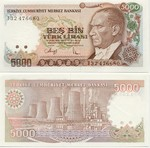 Turkey 5000 Lira (1990) UNC
