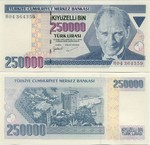 Turkey 250000 Lira (1998) UNC