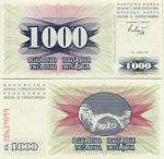 Bosnia & Herzegovina 1000 Dinara 1992 (LA/21507xxx) UNC