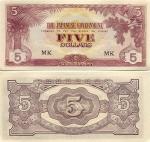 Malaya 5 Dollars (1942) (Block letters: MK) UNC