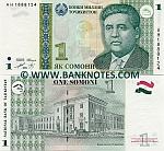 Tajikistan 1 Somoni 1999 (2000) UNC