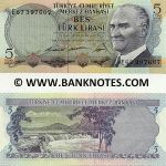 Turkey 5 Lira (1968) (circulated) XF