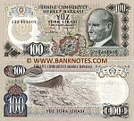 Turkey 100 Lira L.1970 (1972) (circulated) XF