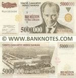 Turkey 5 Million Lira 1.1997 (M19 3554xx) UNC
