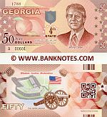 United States of America Georgia 50 Dollars (2014) (not real money) UNC