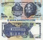 Uruguay 50 Nuevos Pesos (1989) (Serie G; 106720xx) UNC