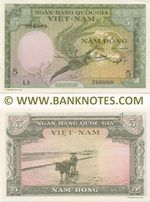 South Viet-Nam 5 Dong (1955) (O4/044730) (lt. circulated) XF
