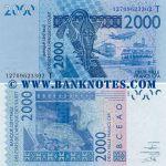 Togo 2000 Francs 2012 (T 12709623xxx) UNC