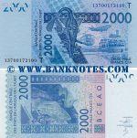 Togo 2000 Francs 2013 (T 1370xxxxxxx) UNC