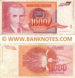Yugoslavia 1000 Dinara 1992 (circulated) F+
