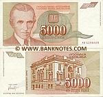 Yugoslavia 5000 Dinara 1993 (Ser # varies) (circulated) VF-XF