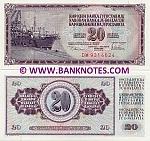 Yugoslavia 20 Dinara 1978 UNC