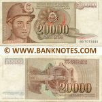 Yugoslavia 20000 Dinara 1.5.1987 (Ser # varies) (circulated) F+