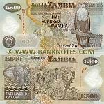Zambia 500 Kwacha 2011 (DU/03 91280xx) UNC