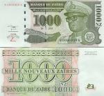 Zaire 1000 New Zaires 1995 (B 00009xx A) UNC