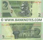 Zimbabwe 2 Dollars 2019 (AC55585xx) UNC
