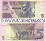 Zimbabwe 5 Dollars 2019 (AH5757436) UNC