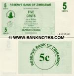 Zimbabwe 5 Cents 2006 UNC