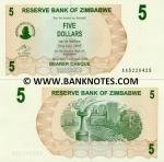 Zimbabwe 5 Dollars 2006 UNC