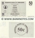 Zimbabwe 50 Cents 1.8.2006 (Exp. 31.7.2007) (AA05787xx) UNC