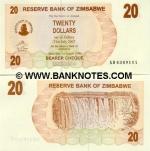 Zimbabwe 20 Dollars 2006 (AB43491xx) UNC