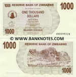 Zimbabwe 1000 Dollars 2006 (AN53982xx) UNC