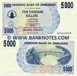 Zimbabwe 5000 Dollars 2007 UNC