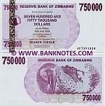 Zimbabwe 750000 Dollars 2007 UNC
