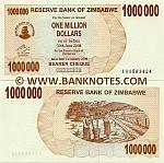 Zimbabwe 1 Million Dollars 2008 UNC