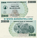 Zimbabwe 25 Million Dollars 2008 UNC