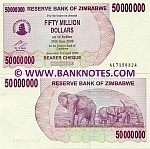 Zimbabwe 50 Million Dollars 2008 (AL71583xx) UNC