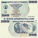 Zimbabwe 250 Million Dollars 2008 (AA93176xx) UNC