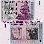 Zimbabwe 1 Dollar 2007 (AA35688xx) UNC
